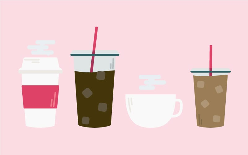 A variety of different coffee drinks