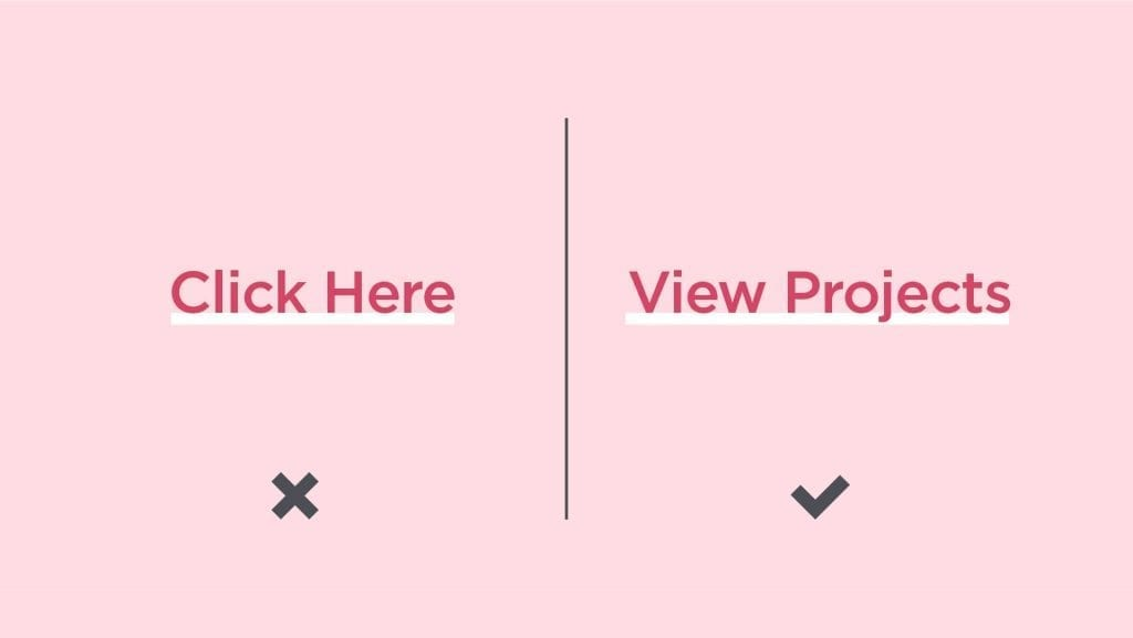 Comparing bad inline link text of Click Here versus good link text of View Projects