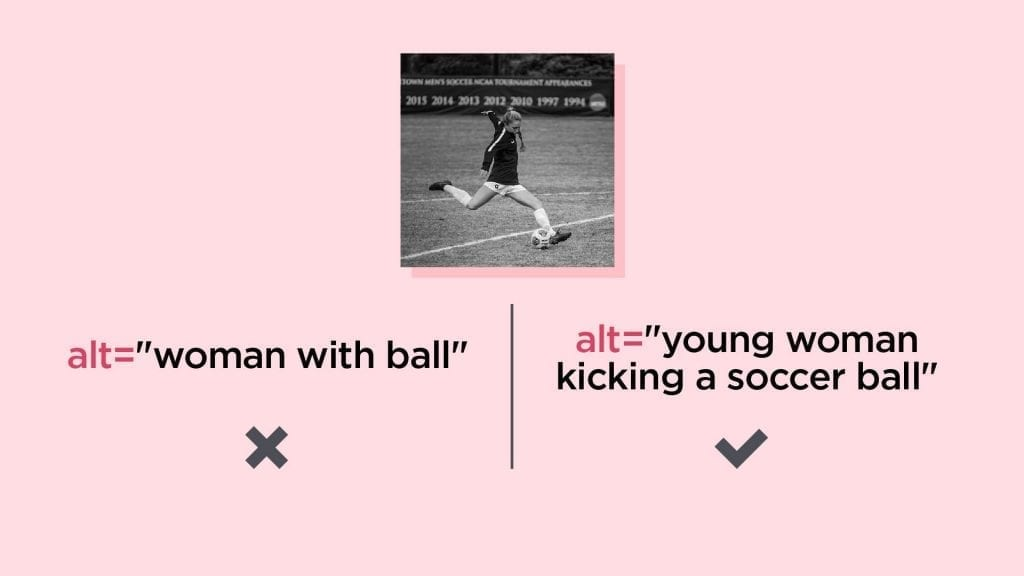 Comparing good and bad alt text for a young woman kicking a soccer ball