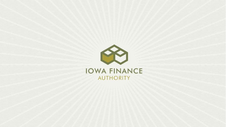 Iowa finance logo with bursting sun icon over wavy money watermarks